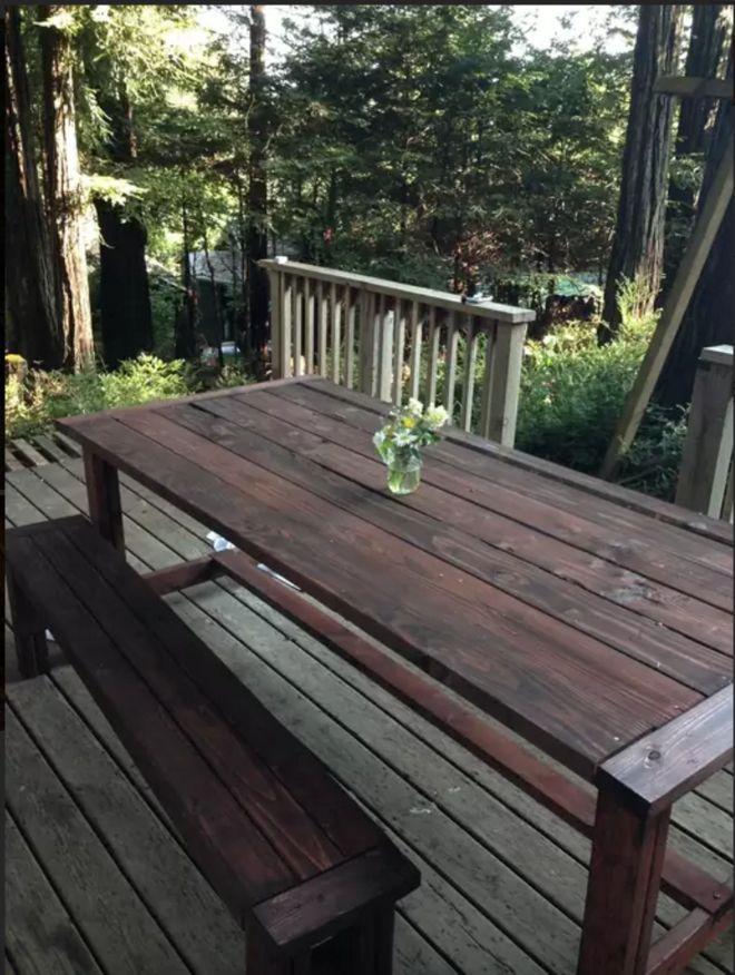 A frame cabin deck