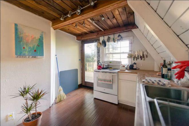 A frame cabin kitchen