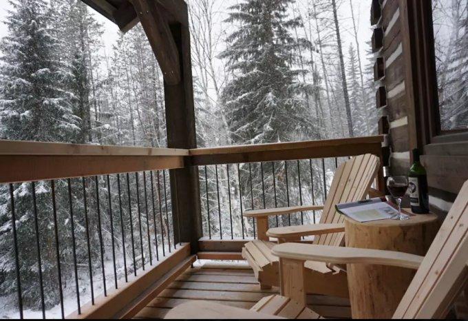 Log cabin balcony