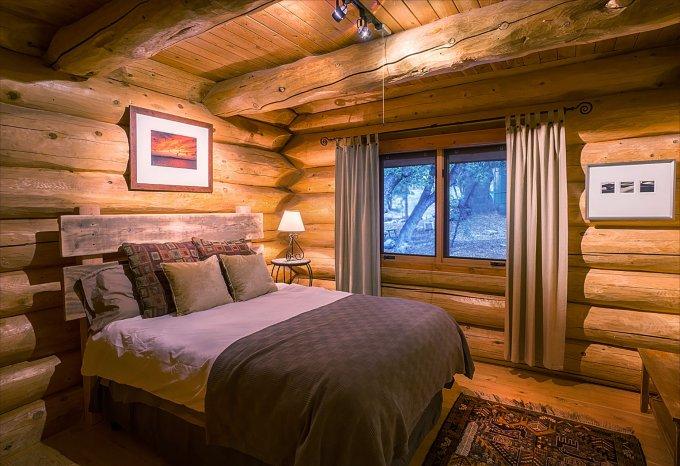 Log cabin getaway inside