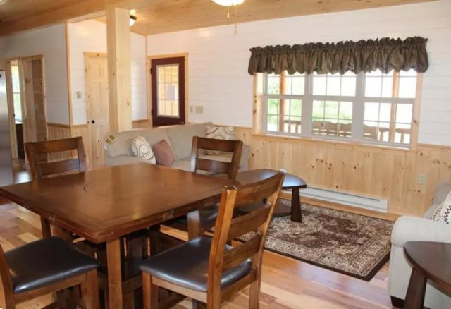 Log siding cabin interior