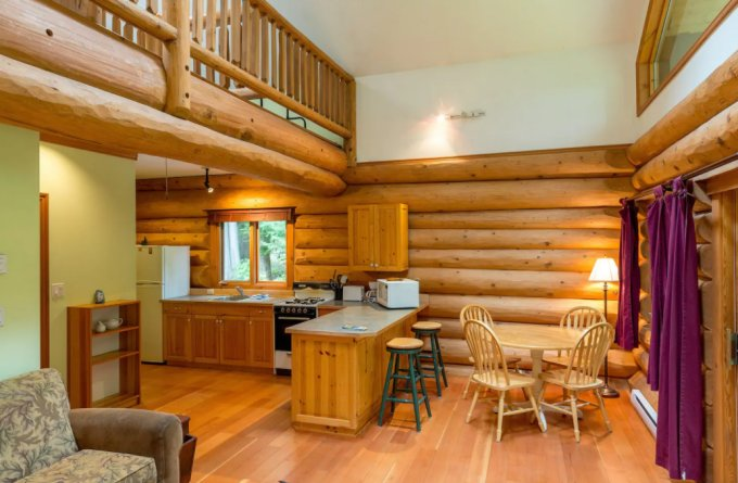 Lakefront log cabin