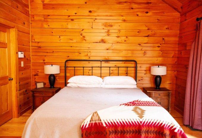 Peaceful log cabin bedroom