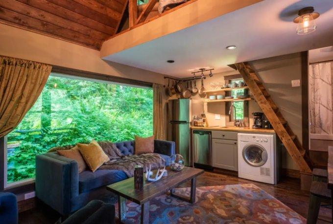 Tiny cabin interior