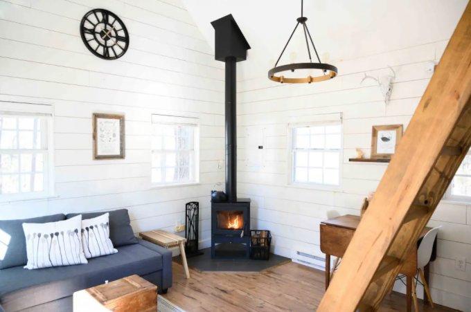 Tiny modern cabin interior