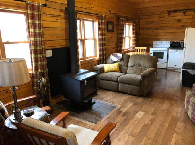 Cozy log cabin interior