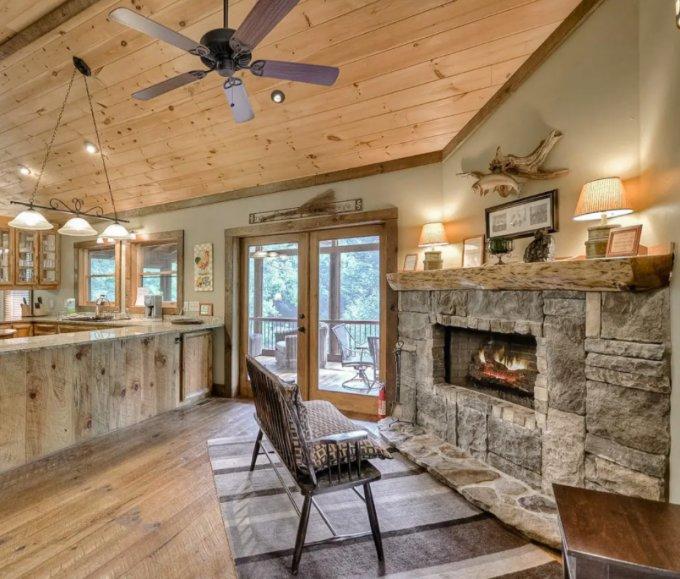 Creekside cabin interior