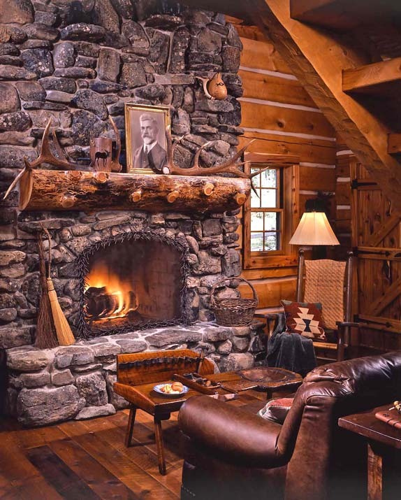 Cozy log cabin fireplace