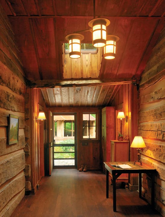 Renovated log cabin entry