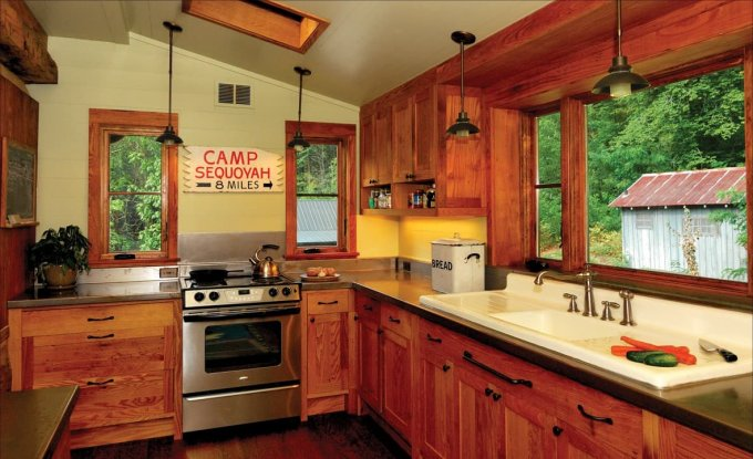 Renovated log cabin kitchen